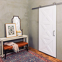 The Contemporary barn door is a more modern twist on the popular 3-Panel barn door.