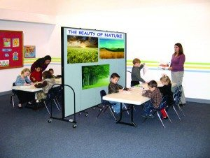 Accordion doors are a great way to separate a classroom into smaller areas to maximize space